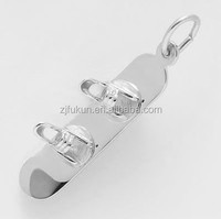 """Silver Sports 1"""" Long Snowboard Charm Outdoor Sports Pendant For Necklace"""