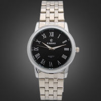 Vogue Men Stainless Steel Chain Watch Black Dial Japan Movt Quartz Watches For Men Water Resistant Watch