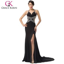 New arrival ! 2015 Grace Karin So Sexy Design of Halter Backless Split Front Long Evening Party Dresses CL6155