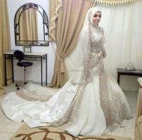2015 Beautiful Pictures Long Sleeve Custom Made Online Arab Hijab Bridal Wedding Gown TM1636 Muslim Wedding Dress