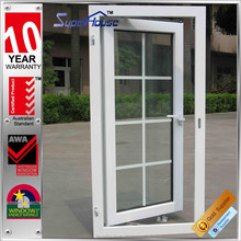 Double glazed insulated aluminium frame casement window with grids/blinds