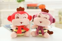 In stock! 18cm small monkey plush toys soft stuffed monkeys with flower, cute stuffed animals toys baby doll promotion gifts