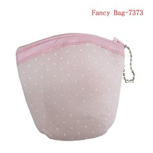 Pink color kids mini mesh pouch for girl