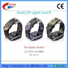 2015 Wholesale Factory price camo skin Genuine Leather Watch Band Strap for Apple Watch38mm and 42mm, Adapter is Optional