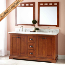 Transitional 60 inch free standing Carrara marble stone top double sinks solid wood bathroom cabinet vanity FED-6039