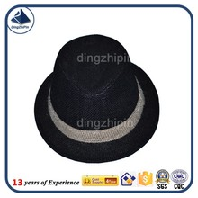 Black straw woven plain fedora hat with white ribbon custom
