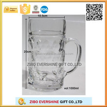 factory good quality German standard beer glass cup beer mug glass cup with handle high quality with food safety