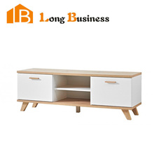LB-AL5073 PU painted MDF TV Stand with oak legs