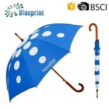 23 Inch Automatic Wooden Materials Curve Handle Straight Umbrella