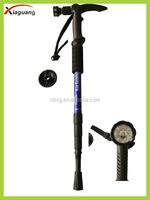 Popular T Handle AntiShock Hiking stick walking stick cane adjustable with Compass LED flashlight