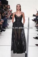 beautiful black top brand floor length sweetheart necklace lace custom make long TM1429 transparent dress fashion show