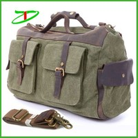 Quality products vintage canvas leather duffel bags fashion leather weekend bag