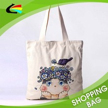 Promotional Cotton Canvas Material School Girls' Favorite Shopping Bag