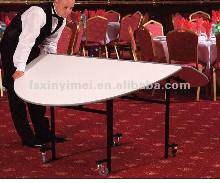 Hotel Folded Round Wooden Banquet Table XYM-T01