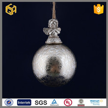 Crafts christmas glass ball decorations with angel.
