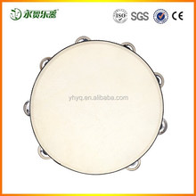 "10"" Hand Held Tambourine Drum Bell Birch Metal Jingles Percussion Musical Educational Toy Instrument for Party KTV Kids Games"