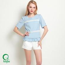 TOP045 Guangzhou Factory Lace Trim Wholesale Tops Clothes Women