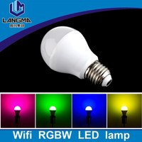 Langma white housing mi-light 6w rgbw wifi led bulb e27 colour changeable 2.4G multi color led light bulb with remote controller