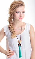 Fashion wooden beads leather chain long necklace with long tassel national style