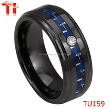 Black plated tungsten diamond fashion ring with blue carbon fiber inlay
