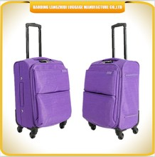 special management washed fabric travel luggage purple color romantic trolley luggage suitable for gift with lightweight