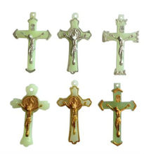 plastic luminous golden silver crucifix cross