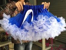 New girls hot blue with white flower fluffy pettiskirt ,baby tutu,kids pettiskirts