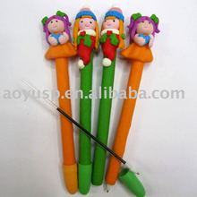 Polymer clay lovely girl ball pen