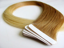 Ombre Eurasian remy human double sided tape hair extensions