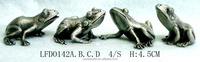 Hand-paint casting-miniature hand craft four frog modern sculpture