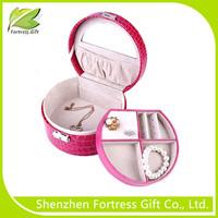 Wholesale common Round Mini Paper Jewelry Box with Standing Mirror