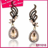 fashion 2016 punk style jewelry in chile vintage unisex Champagne rhinestone angel wing earrings