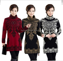 Winter retro totems middle aged and old women's thick turtleneck knit dress