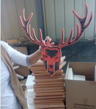 Christmas decoration use wooden deer head wooden wall-mounted deer head