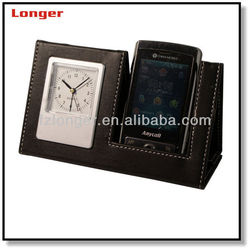 Multi-functdion funny imitation leather cell phone holder with clock
