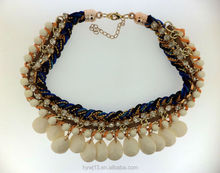 Most fashionable design coloured rope braided with teardrop beads chunky necklace
