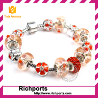 DIY Crystal Murano Glass Bead Bracelet, Silver Plated Fashion Jewelry,Merry christmas gift!!