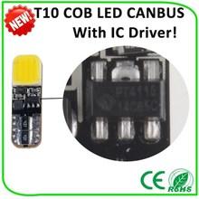 Long life time cheap 12v 24V ,T10, 6000K W/B/R/Y/G available car cob led cob lamp canbus led t10