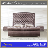 upholstered bed,luxury bed,high back fabric bed