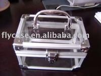 2013 new design aluminum exquisite acrylic case with handle and locks size 190*110*110