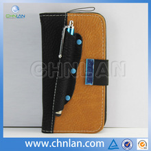 Hot selling in stock stylus holder case for samsung galaxy s4 leather card holder flip case cover pouch