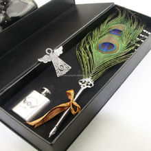 Best Wedding Gift Feather Fountain Pen Set/Natural feather quill pen
