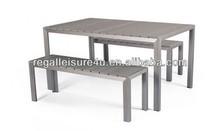 Jardín al aire libre poli banco de madera y mesa de dinig conjunto rlf-001pdt furniure