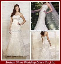 YED101Sin tirantes de encaje escote corazón y tul elegantes vestidos de novia vestidos de boda nupciales 2014latest
