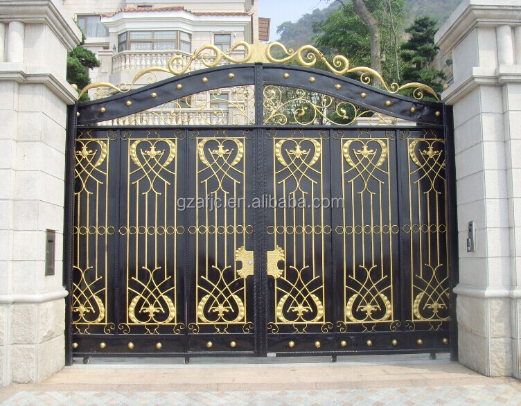 Residential entrance gates villas gate metal gates home for Single gate designs for homes