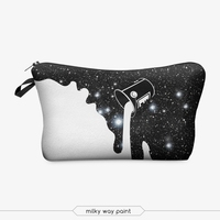 miky way paint cosmetic bag 3d print cosmetic bag high quality wholesale travel makeup cases with zippers pouch purses wallets
