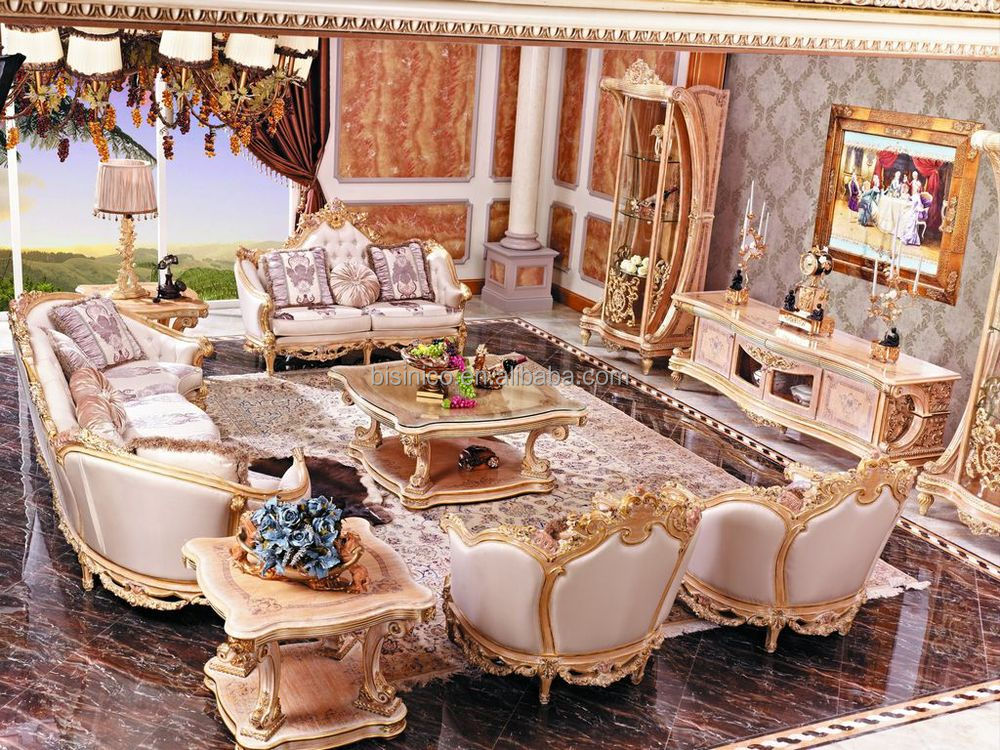 Luxury french baroque style living room furniture sofa set european royal palace hand carved for French style living room furniture