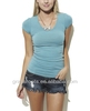 Womens Scoop Neck Solid Color Plain Dyed Short Sleeve Tshirts+Free Sample TX0003