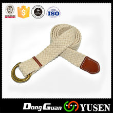Pure White Adjustable D Ring Cotton Braided Belt