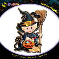 Halloween party decoration double printing hand broom window sticker with kids